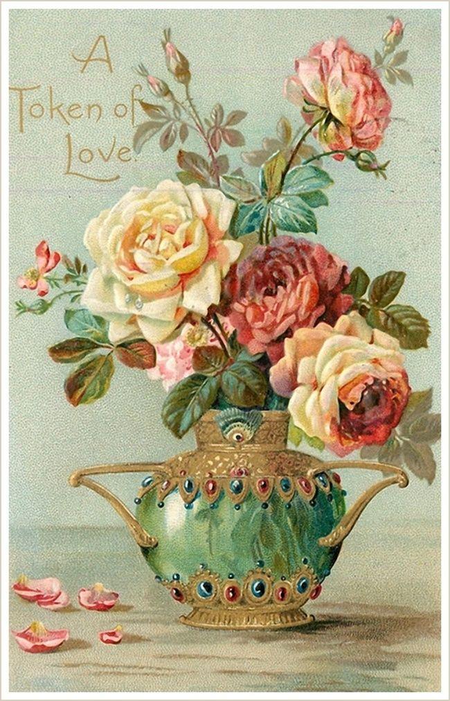 Ретро открытка с цветами, днем рождения женщине
