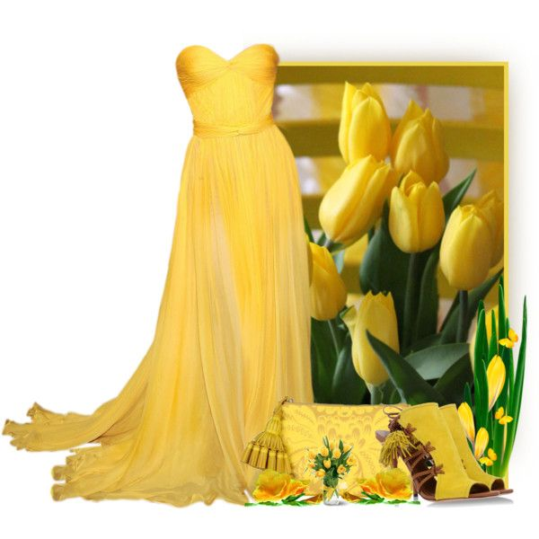 Yellow by snigi on Polyvore featuring Aquazzura, Anya Hindmarch, contest, yellow, gown and tulips