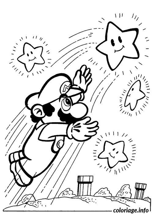 Coloriage Mario attrape une etoile Dessin à Imprimer