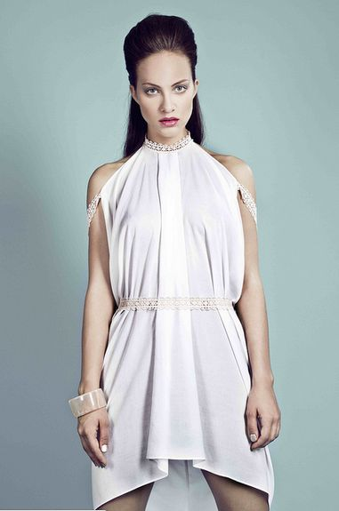 SO ON - ornamented dress with lace straps