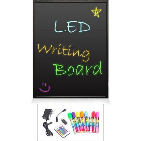 Pyle Erasable Illuminated LED Writing Board with Remote Control and 8 Fluorescent Markers, 16 inch x 12 inch, Black