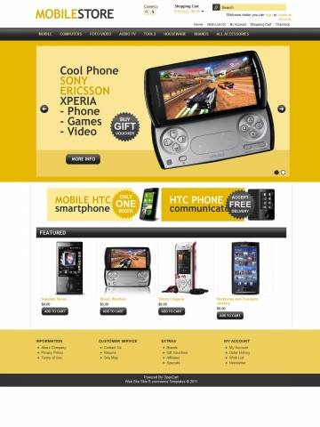 "Mobile Store OpenCart Free Theme Template is specially designed for Mobile devices. Garmonical colors combination of yellow and black for Mobile phones, Smartphones, Communicators, Cameraphones, Lifestyle Phones, Luxury Phones. Accordion Slogan ""Best decorate our store are our products"". It is very nice with its clean and professional look."