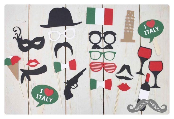 I love Italy! Ga jij dit jaar trouwen in Italië? Of heb je Italiaanse roots, dan is dit foto props pakket wellicht iets voor jou!  23 delige photo booth props set. Uitermate geschikt voor: * Photo booths * Feestjes & Bruiloften *Verjaardagen * Polaroid Party's  Dit zit er allemaal in het pakket: * 2 heerlijke lippen *4 toffe brillen *3 super gavesnorren *2 mooie bow ties * 1 te gekke hoed * 1 fancy sjaaltje * 1 sexy masker * 1 stoer pistool * 1 fles wijn met 2 glazen * 1 lekker...