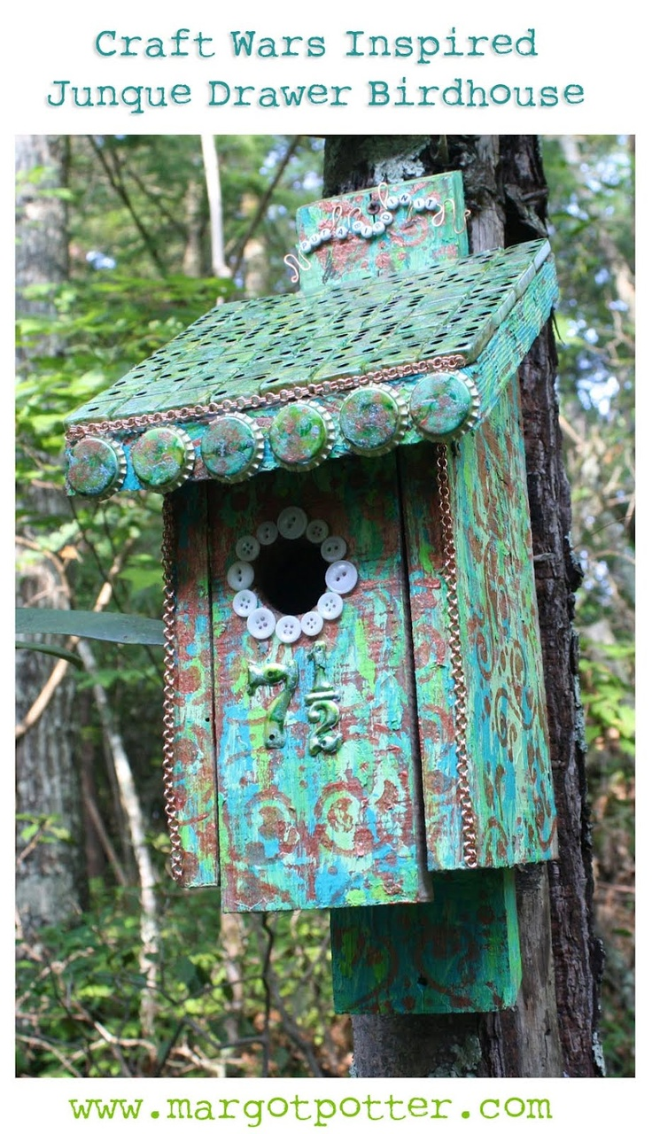 Margot Potter: Craft Wars Inspired Junque Drawer Birdhouse!: War Inspiration, Junqu Drawers, Metals House, Crafts War, Bottle Cap, Margot Potter, Birds House, Inspiration Junqu, Drawers Birdhouses