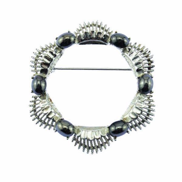 Coro Silver and Hematite Circle Brooch