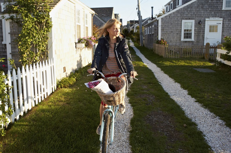 Eva on a bike, Nantucket style