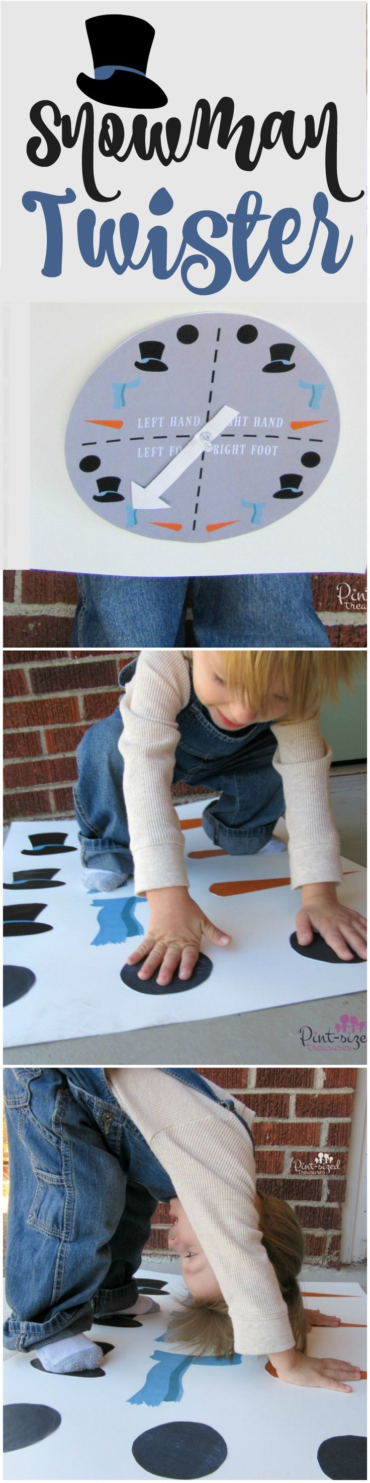 Take traditional Twister to a whole new level with Snowman accessories! Preschoolers love this fun game that teaches hand-eye coordination, sequences, and sportsmanship! So many ways to use this fun game and free printable set to help preschoolers and elementary aged children learn basic and foundational concepts! Get ready to giggle, smile and learn with Snowman Twister!