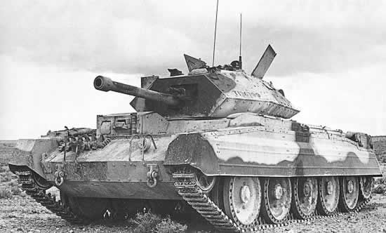 Crusader tank. The Crusader was a British cruiser tank used in various theatres during world War 2. It used 5 road wheels on each side as opposed 4 used by the Covenanter tank. Over 5,300 were built.