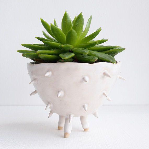 Handmade large white ceramic spiky cactus planter by Kabinshop