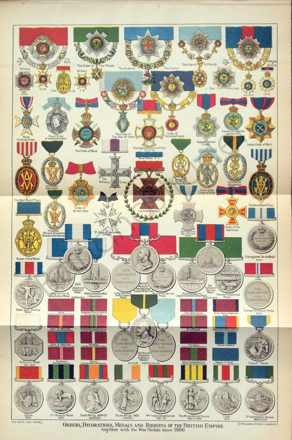 Antique Print of British Medals - Orders, Decorations, Medals, and Ribbons of the British Empire - 1915-1916 Long Antique Chromolithograph