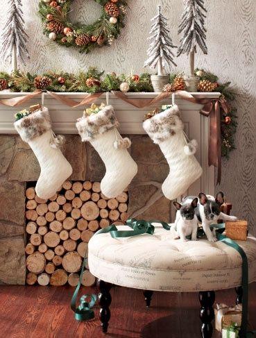 Christmas Mantels - Christmas Decorating ~ http://blog.styleestate.com/christmas-decorating/2012/11/30/35-beautiful-christmas-mantels.html