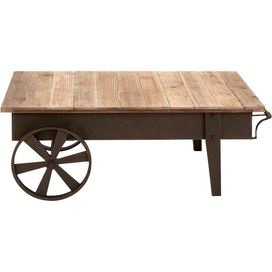 Wheeled coffee table with a rustic wood top. Product: Coffee table  Construction Material: Reclaimed wood and aged iron   Color: Natural   Features:   Two wheel-style legs  Unfinished planktop        Dimensions: 17 H x 45 W x 25 D