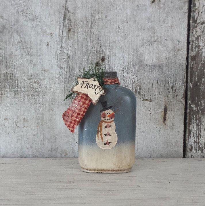 Primitive Country Snowman On Vintage Bottle, Primitive Snowman, Frosty,  Snowmanu2026 Pictures Gallery