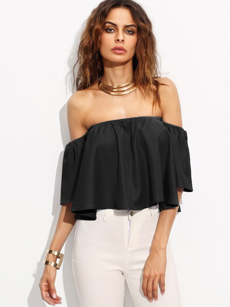 Shop Off Shoulder Crop Top online. SheIn offers Off Shoulder Crop Top & more to fit your fashionable needs.
