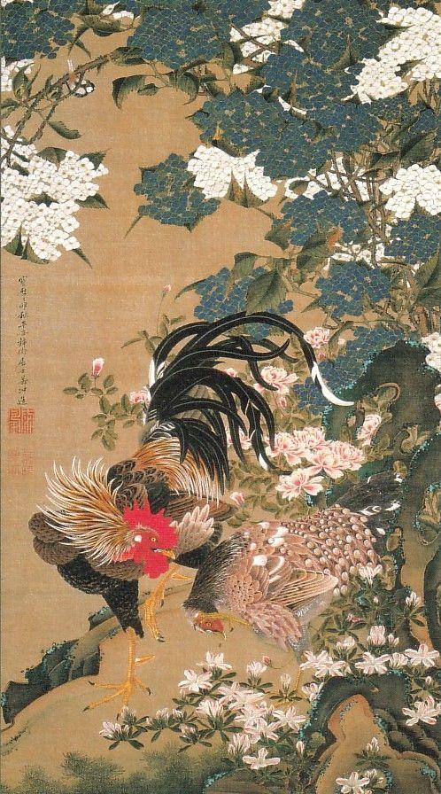動植綵絵-06-紫陽花双鶏図(あじさいそうけいず)
