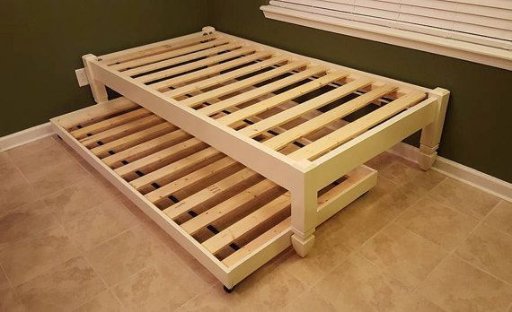 Quatre postes de plate-forme, lit, lit en bois, profil bas lit, ballerine, avec gigogne ou le stockage