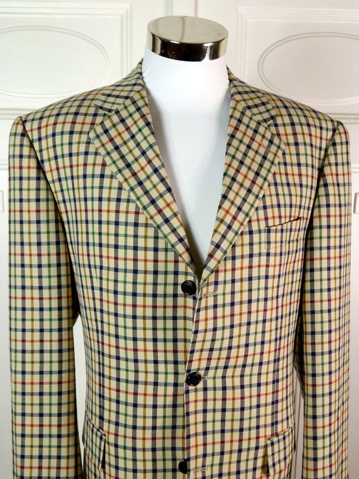 Italian Vintage Plaid Blazer, Camel-Color Jacket w Navy Green Red Plaid, Cerrito Wool Sport Coat, 1980s Plaid Blazer: Size  44 (US/UK) by YouLookAmazing on Etsy