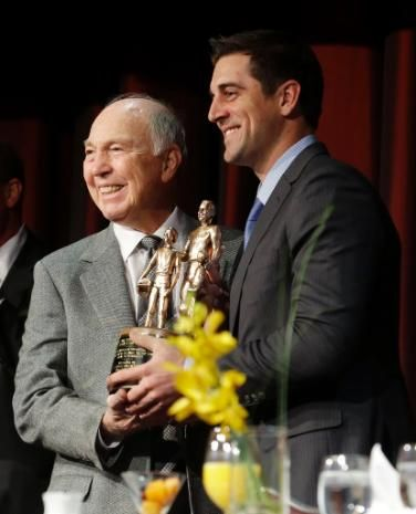 Bart Starr presented Packers QB Aaron Rodgers with the Bart Starr Award for Character and Leadership at the Super Bowl Breakfast in New York...