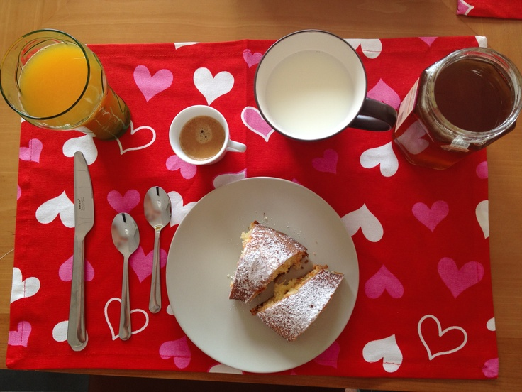 Day Three: Wednesday Breakfast. #OrangeJuice #milk #coffee #nespresso #PlumCake #Honey