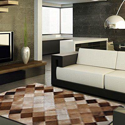 本牛革ラグ 手作り高級牛革ステッチングのリビングルームソファーカーペット ( サイズ: 120cm×200cm )