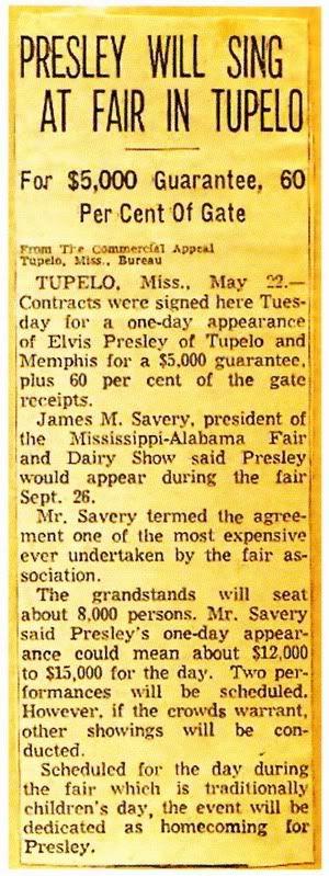 Elvis Presley will sing @ Fair in Tupelo 1956