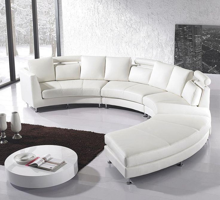 Sofa skórzana biala, pólokragla - ROTUNDE