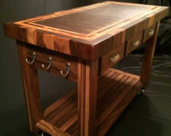 Custom Beautiful Black Walnut End Grain Butcher Block Kitchen Cart with American Cherry Accent Frame