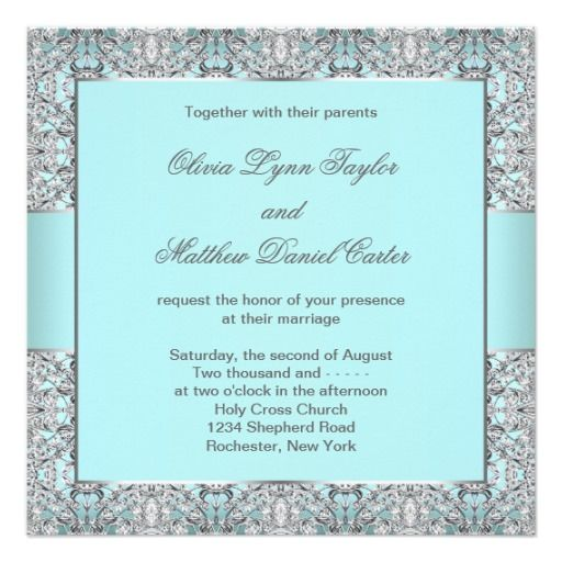 free wedding invitation templates   elegant teal blue with silver lace wedding invitation templates add ...