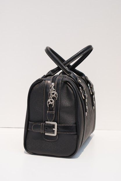 Cavalinho Black Leather Handbag with Silver Metal Accent. www.exclusivelyequine.ca