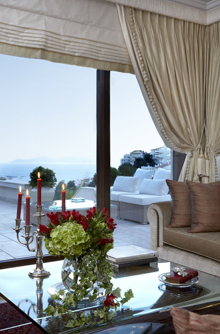 private house / living room / sea view / Voula  Greece  /  interior designer Sissy Raptopoupou