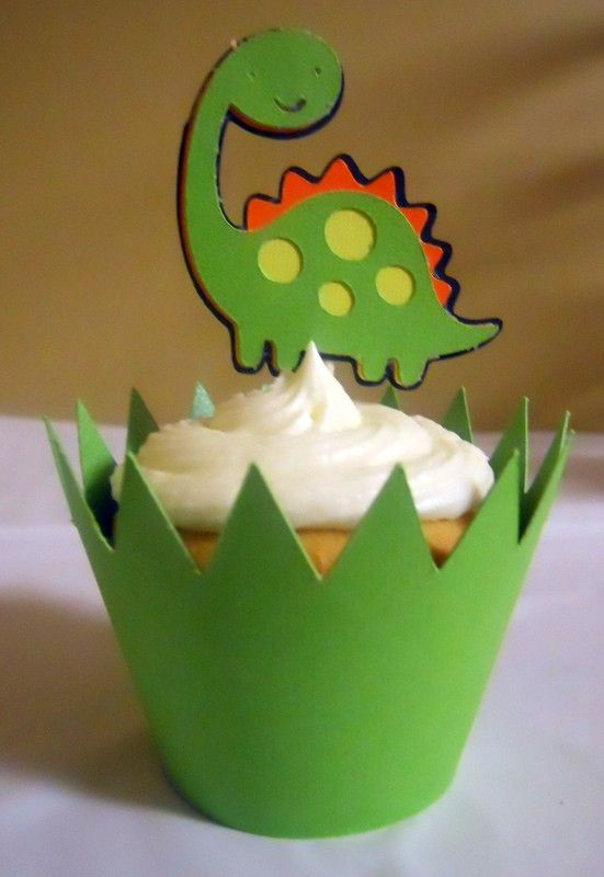 Dinosaur Cupcake Topper & matching wrapper  set by pieceofcupcake, $15.00