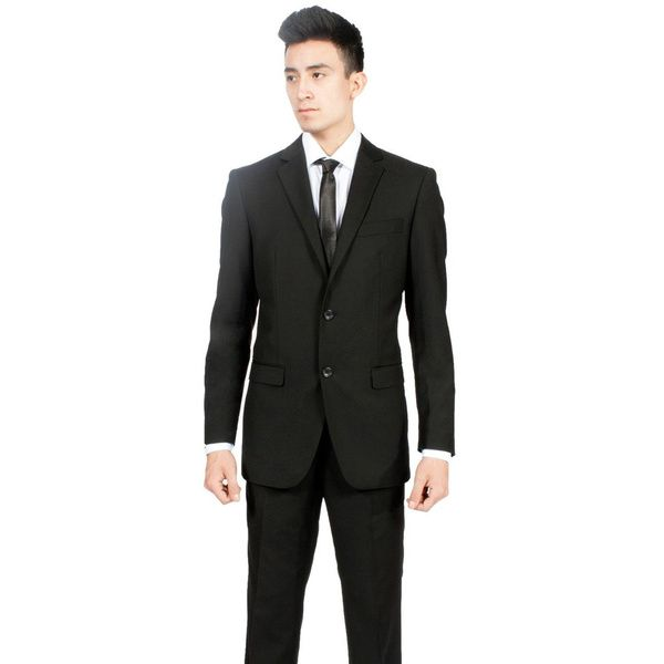 Zonettie by Ferrecci Men's Custom Slim Fit Black 2-piece Suit by