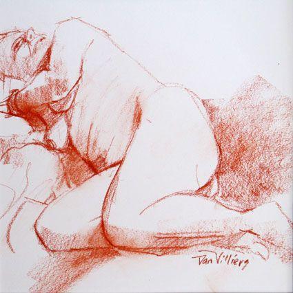 Lena reclining - conte sketch by Dan Villiers