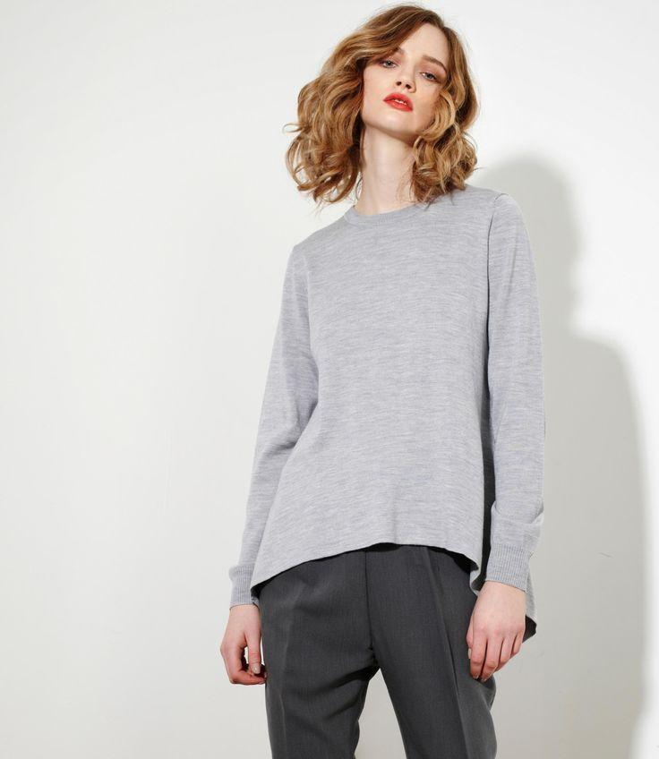 Harmony Sweater in Grey Marl - 100% Merinowww.nineteen46.co.nz