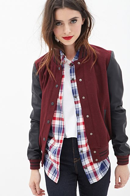 An Exclusive Forever 21 Discount To Make It Even More Affordable #refinery29  http://www.refinery29.com/2014/08/72355/forever-21-discount-fall-2014#slide12  Forever 21 Faux Leather Varsity Jacket, $31.45 with code SPRING21 (originally $39.80), available at Forever 21.