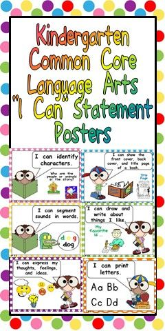 """This packet has posters to display """"I Can"""" statements for the Language ArtsCommon Core State Standards for Kindergarten.   The """"I Can"""" Statements are written in kid-friendly language, while still maintaining the rigor of the standard. The cards are illustrated to help students understand each standard. They are also color-coded by strand. The strand and standard are written in a small font on each poster to help you stay organized."""