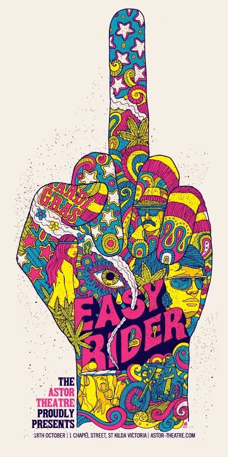 Easy Rider Astor Theatre Poster    Designed by Methane Studios  Created for The Astor Theatre  18th October, 2010