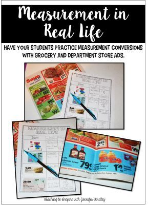 Measurement in Real Life Activity....practice measurement conversion with grocery store ads. Read more at http://teachingtoinspire.com/2014/10/measurement-in-real-life-math-is-rea.html