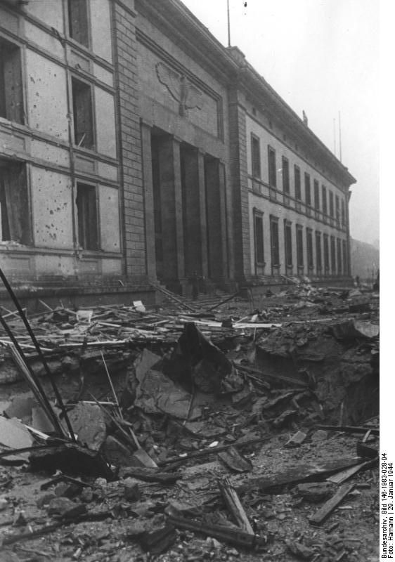 A bomb crater in front of the Reich Chancellery, Berlin, January 1944.