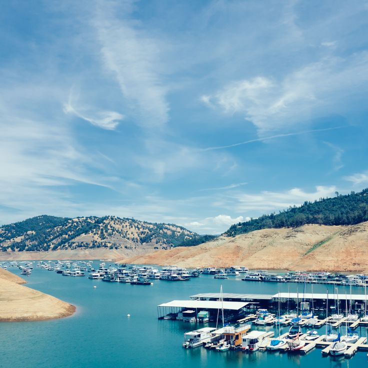 """Day 741 [6-30-15] """"Limited Parking"""" - Boats crowd the marina as the water level drops.  Lake Oroville, CA is nearly 200ft below full capacity. (weekly theme: """"Lake Oroville Complex"""" 