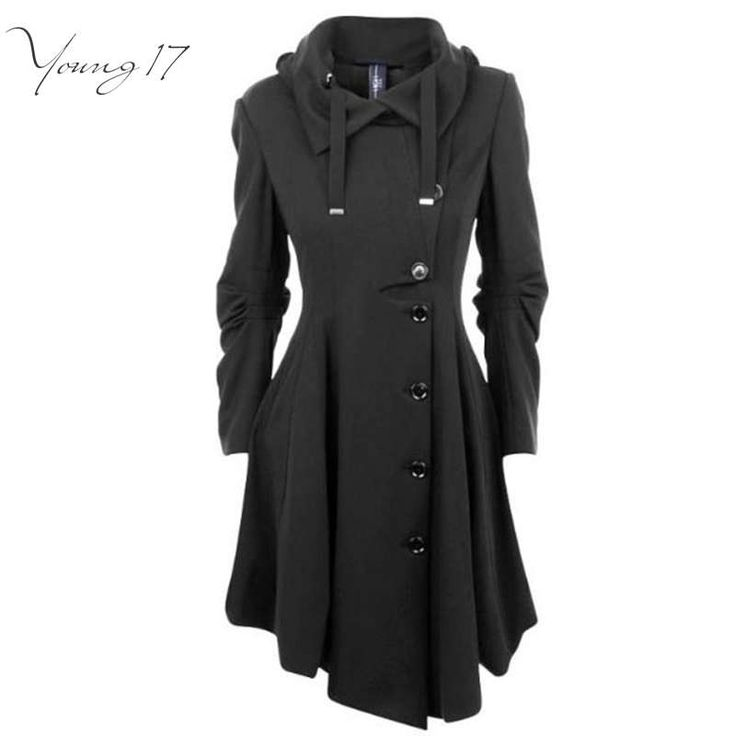 Young17  Asymmetric Black Coat Stand Collar Long Sleeve Women Overcoat Elegant Single-Breasted Long Sleeve Slim Fall Winter ** Details on product can be viewed by clicking the image