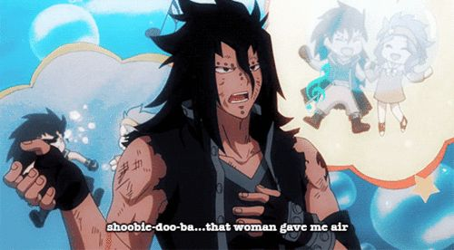 Gajeel, singing, text, quote, funny, Levy, blushing, couple, gif; Fairy Tail