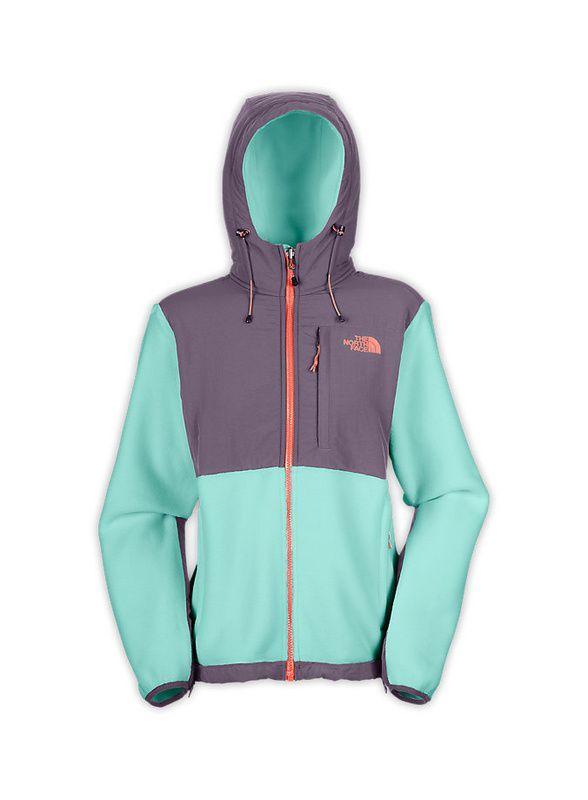 north face women, North Face Denali Hoodie Jacket Womens Tiffany Blue Grey Orange
