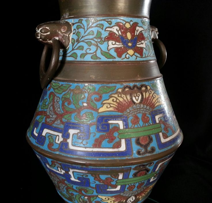 12 Inch Chinese Bronze Champleve Cloisonné Brass Enamel Pottery Vase Burial Urn Asian Oriental Art by OldGLoriEstateSale on Etsy