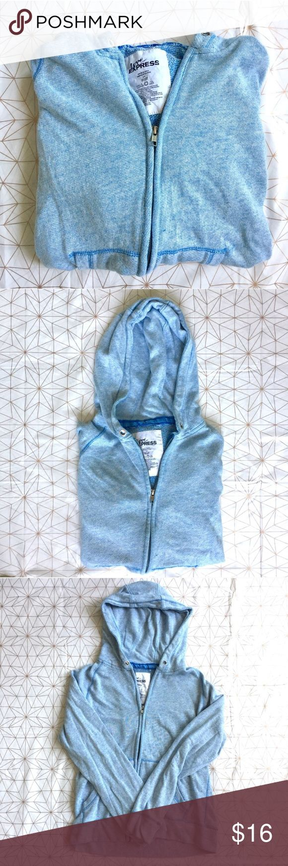 """Express blue zip up hooded sweater - Size: L - Material: 100% cotton - Condition: good - Color: light blue - Pockets: yes, on the front  - Closure: zipper - Style: hooded sweatshirt with zipper and pockets - Extra notes:   *Measurements:  Bust: 19"""" flat Length: 22.5"""" Express Sweaters"""