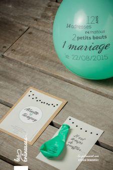 Save the date guinguette. Save the date et ballon. Faire-part de mariage. Wedding invitation with balloon. Réalisé par / Made by Les crâneuses - Wedding design.