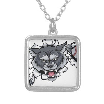 Wolf Baseball Mascot Breaking Background Silver Plated Necklace - jewelry jewellery unique special diy gift present