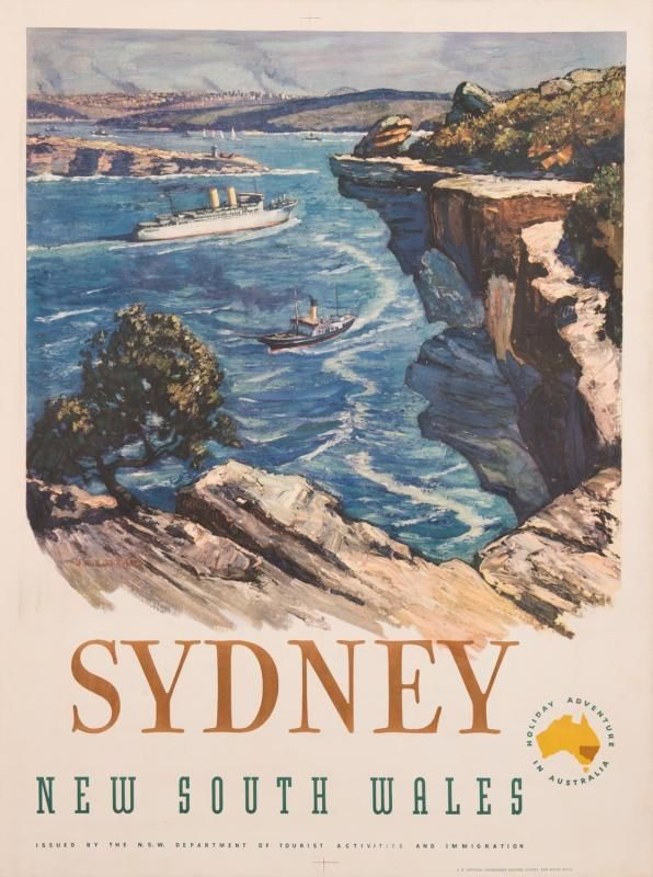 "c1950s travel poster, ""SYDNEY, New South Wales"", artwork by J.Richard Ashton (1913-2001), published by The NSW Department of Tourist Activit..."