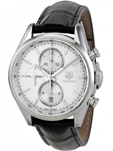 TAG HEUER Carrera Black Automatic Silver Dial Strap Watch CAR2111.FC6266