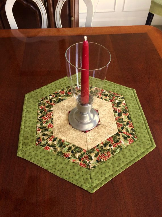 Christmas Green & Red Quilted Hexagon Table Topper, Candle Mat, Table Runner - reversible